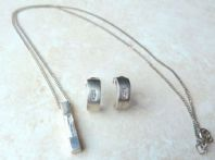 Vintage Sterling Silver Crystal Necklace And Earring Set